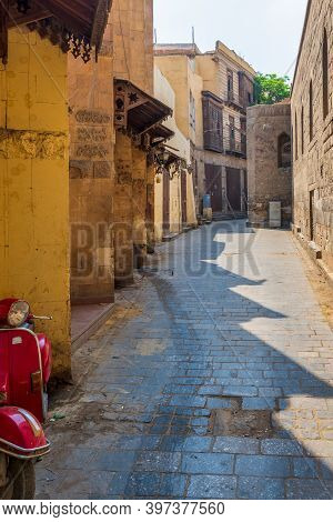 Cairo, Egypt - June 26 2020: Alley Branching From Historic Moez Street At Gamalia District, Old Cair