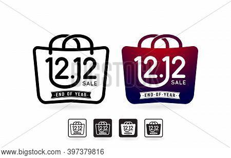 Shopping Bag 12.12 Sale, Handbag 12.12 Online Sale, Set Of Sale Labels, Icons Shopping Bag And Handb