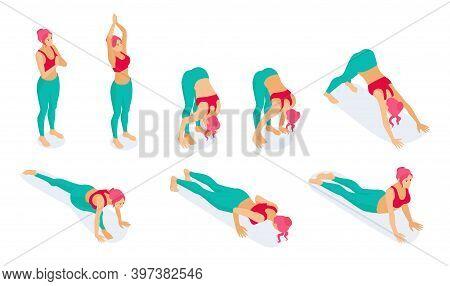 Set Of Isometric Yoga Poses, Stretch Fitness Gym Yoga Workout Exercises Dog Position Isometric Icons