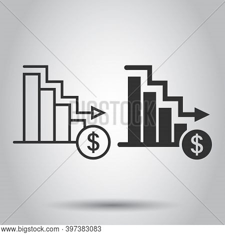 Market Trend Icon In Flat Style. Decline Arrow With Magnifier Vector Illustration On White Isolated
