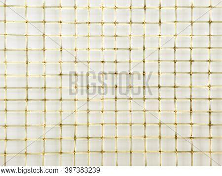 Old Tennis Racket Net. Close Up, Macro Photography. Tennis Racket Net Texture, Top View, Background