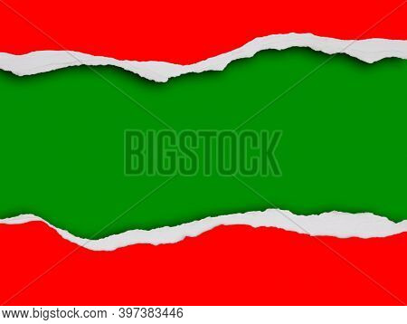 Hole ripped in red paper on green. Christmas background. Copy space
