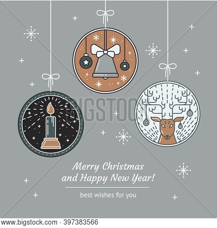 Merry Christmas And Happy New Year Greeting Card With Line Art Candle, Rays, Jingle Bell, Christmas