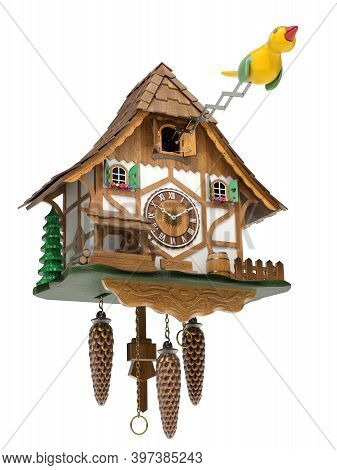 Cuckoo Clock With Yellow Bird Isolated On White Background - 3d Illustration