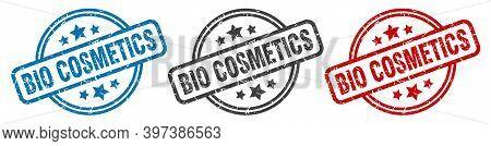 Bio Cosmetics Stamp. Bio Cosmetics Round Isolated Sign. Bio Cosmetics Label Set