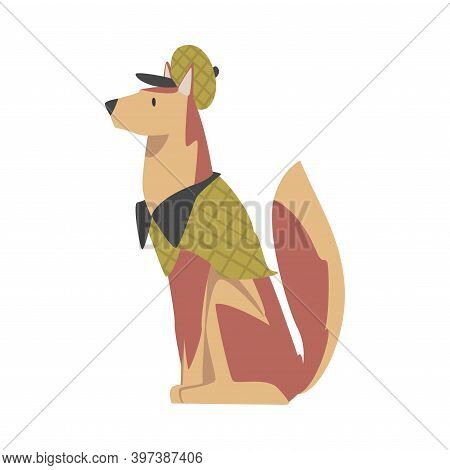 Cute Dog In Detective Costume, Funny Pet Animal Character Dressed In Costume For Masquerade, Carniva