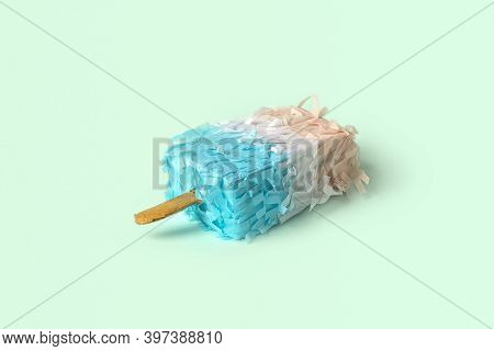 Paper Creative Popsicle Decoration On Abstrcat Pastel Blue Background. Ice Cream In Minimal Style. C