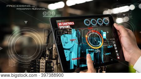 Engineer Use Augmented Reality Software In Smart Factory Production Line With Automated Application