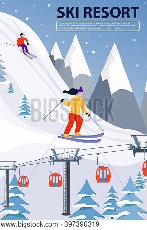 Ski Resort Banner Illustration With Ski Lift And Skiers. Sportsmans Slide Down The Slopes. Skiing In