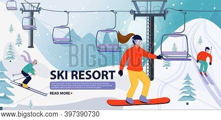Ski Resort Banner Illustration With Ski Lift. Skiers And Snowboarders Sportsman Slide Down The Slope