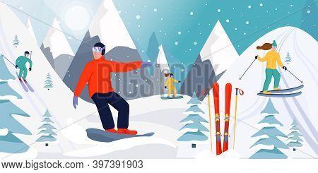 Ski Resort Banner Illustration. Skiers And Snowboarders Sportsman Slide Down The Slopes. Snowboardin