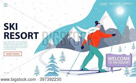 Ski Resort Web Page Concept With Skier And Snowy Mountains. Happy Woman Skiing In The Mountains.welc