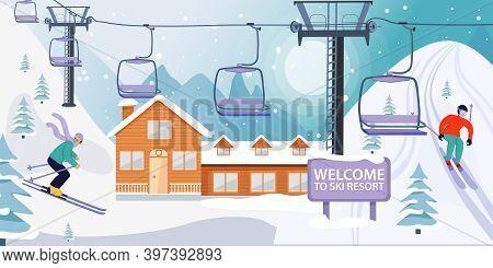 Ski Resort Banner Illustration With Ski Lift And Wooden House. Skiers Sportsman Slide Down The Slope
