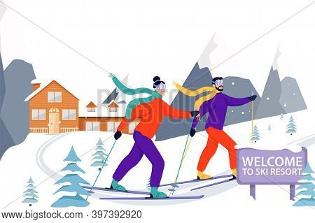 Ski Resort Banner Illustration With Skiers, Wooden Hotel And Snowy Mountains. Happy Couple Skiing In