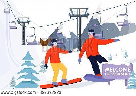 Ski Resort Banner Illustration With Ski Lift. Snowboarders Sportsman Slide Down The Slopes. Skiing I