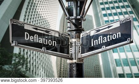 Street Sign The Direction Way To Inflation Versus Deflation