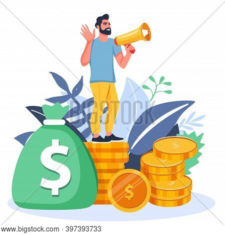 Refer A Friend Or Referral Marketing Illustration. Man With A Megaphone Invites His Friends To Refer