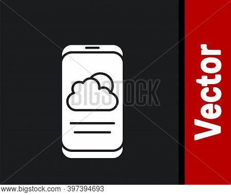 White Weather Forecast Icon Isolated On Black Background. Vector