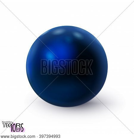 Blue Sphere Glossy Realistic Isolated On White Background. Delicious Polished Ball. Mockup Of Clean