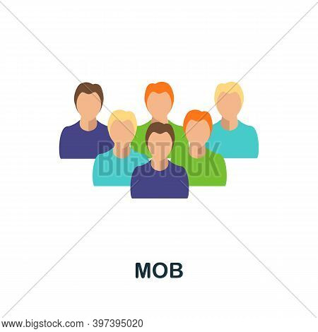 Mob Flat Icon. Simple Element From Protest Collection. Creative Mob Icon For Web Design, Templates,