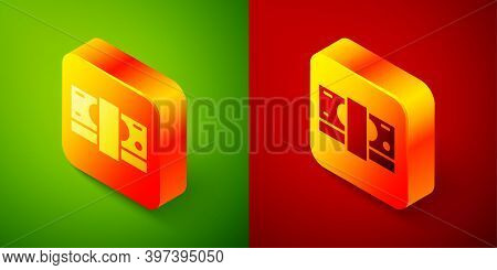 Isometric Stacks Paper Money Cash Icon Isolated On Green And Red Background. Money Banknotes Stacks.