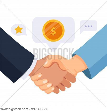 Shaking Hands Of Business Partners. Symbol Of Partnership, Teamwork, Cooperation, Greeting Shake, Wo