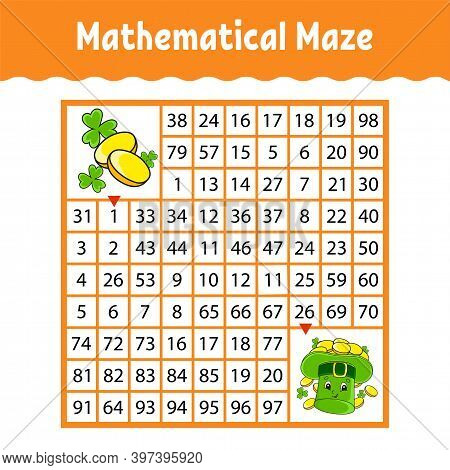 Mathematical Square Maze. Game For Kids. Number Labyrinth. Education Worksheet. Activity Page. Puzzl