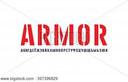 Cyrillic Stencil-plate Sans Serif Font In Military Style. Letters For Logo And Label Design. Isolate