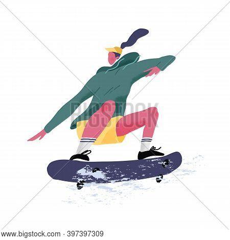 Skater Riding Skateboard. Skateboarder Jumping Or Tricking On Skate Board. Summer Sports Activity. F