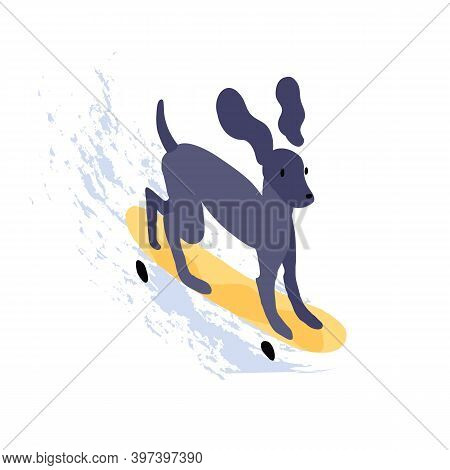 Cute Dog Riding Skateboard. Funny Puppy Skater On Skate Board Isolated On White Background. Animal C