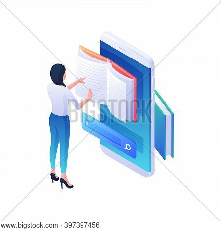Finding Desired Web Book In Mobile Application Isometric Illustration. Female Character Is Leafing T