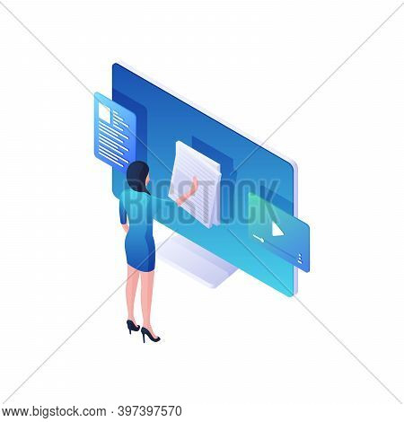 Woman Reading Online News And Watching Video Isometric Illustration. Female Character Flips Through