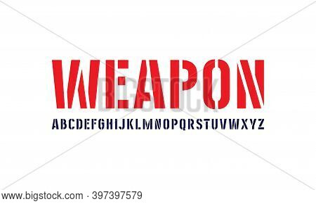 Stencil-plate Sans Serif Font In Military Style. Letters For Logo And Label Design. Isolated On Whit