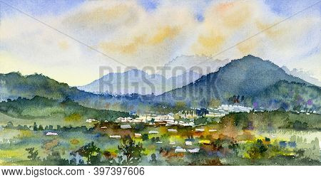 Watercolor Landscape Painting Colorful Of Village, Mountain And Meadow In The Panorama View And Emot