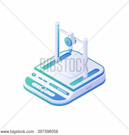 3d Medical Printer Isometric Vector. Electronic White Instrument With Blue Panels For Reconstruction