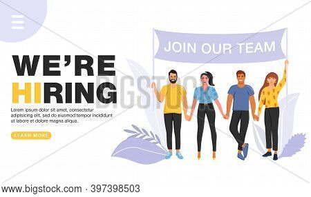 We Are Hiring Concept. Recruitment Agency. Group Of People Holding A Flag With Join Our Team Word. L