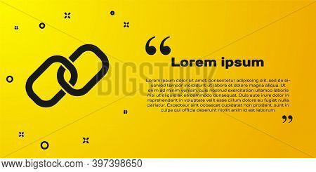 Black Chain Link Icon Isolated On Yellow Background. Link Single. Hyperlink Chain Symbol. Vector