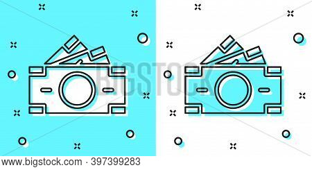 Black Line Stacks Paper Money Cash Icon Isolated On Green And White Background. Money Banknotes Stac