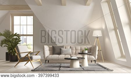 White color attic interior room 3 d illustration