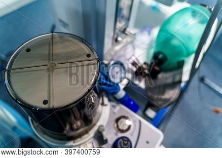 Breathing Bag Ambu And Face Mask. Resuscitator In Hospital. Life Saving Concept.