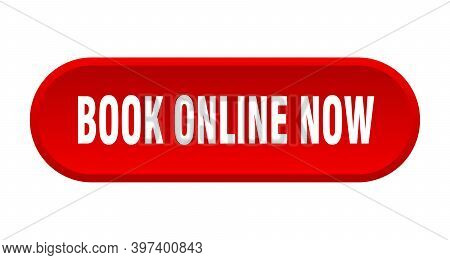 Book Online Now Button. Book Online Now Rounded Red Sign. Book Online Now