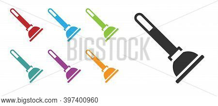 Black Rubber Plunger With Wooden Handle For Pipe Cleaning Icon Isolated On White Background. Toilet