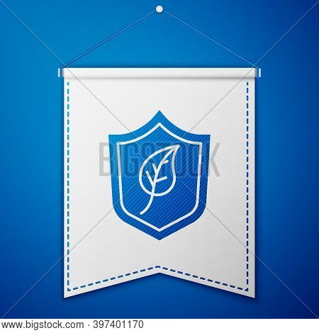 Blue Shield With Leaf Icon Isolated On Blue Background. Eco-friendly Security Shield With Leaf. Whit