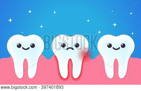 Toothache Illustration. Tooth Decay. Bad Unhealthy And Healthy Teeth. Dental Care Concept. Vector On