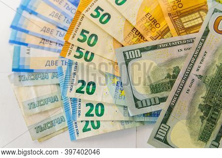 Paper Notes Of Euro, Dollar And Russian Rubles. Exchange Rate. Buy Currency Sign. Exchange Money. Do