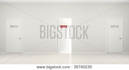 Corridor With Doors - New Year's Illustration.