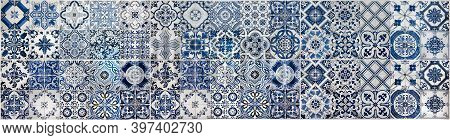 Geometric And Floral Azulejo Tile Mosaic Pattern. Portuguese Or Spanish Retro Old Wall Tiles. Seamle