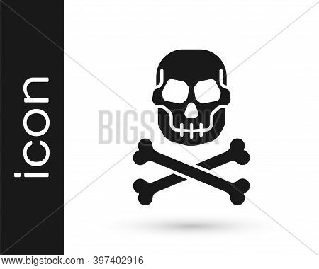 Black Skull On Crossbones Icon Isolated On White Background. Happy Halloween Party. Vector