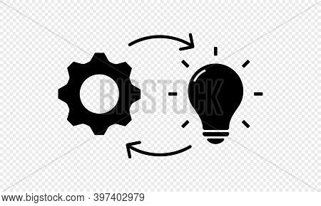 Implementation Line Icon. Lamp With Gears. Vector On Isolated Transparent Background. Eps 10