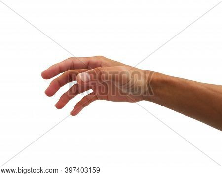 Hand Of Man Is In Gesture Of Reach Out To Touch Or Take  On White Background